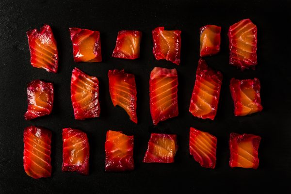 Beetroot Gravalax - salmon cured with salt, pepper and beetroot